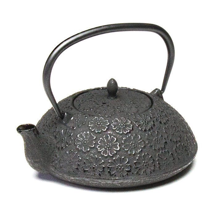 Rikyu Iron Teapot Flower Pad - Black 24oz