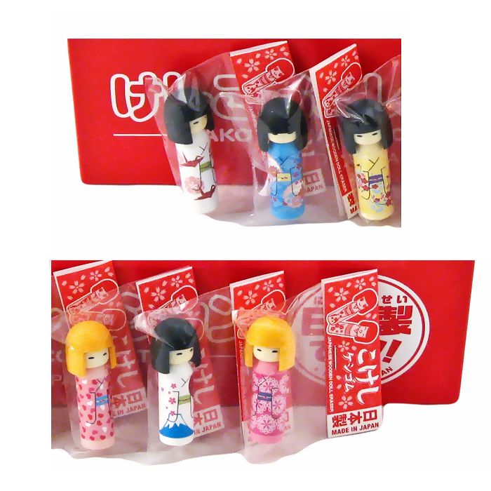 Kokeshi Doll Erasers 5pc Assorted