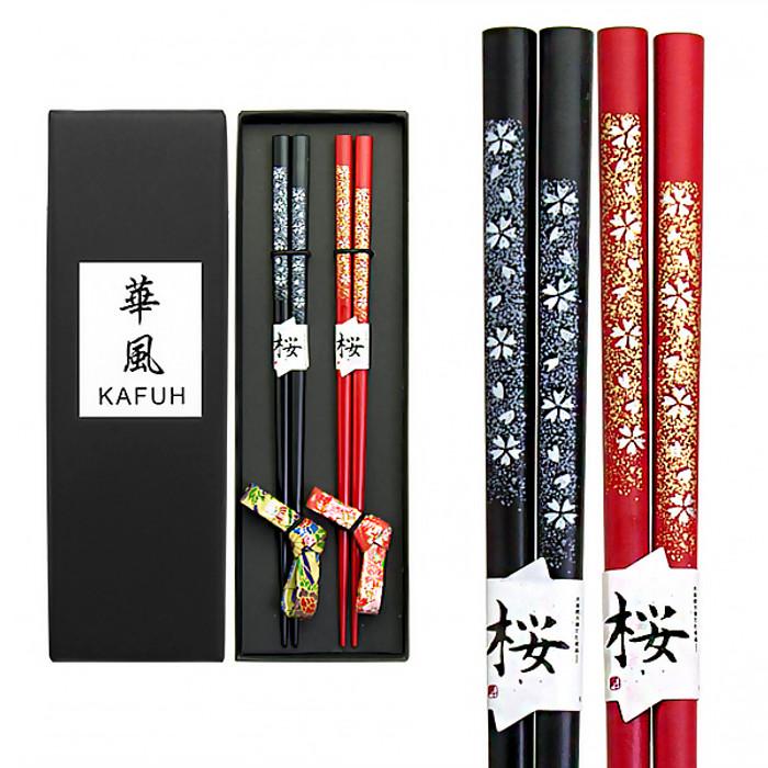 Foil Flowers Chopsticks with Rests Set of 2