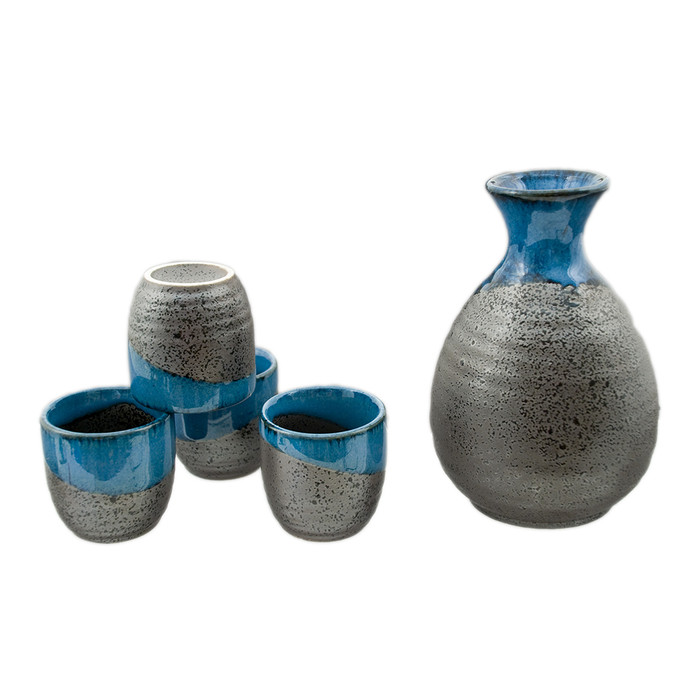 Blue Charcoal Sake Set