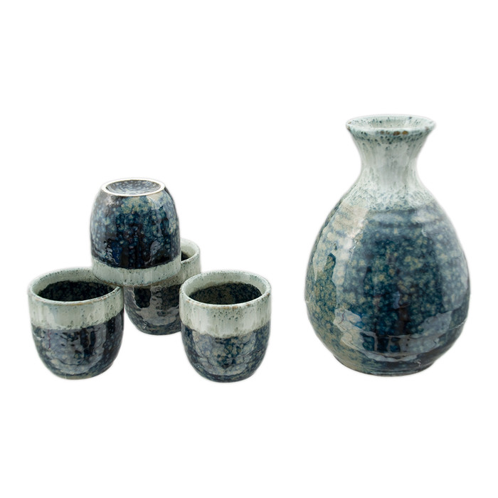 Blue Glaze Stone Sake Set