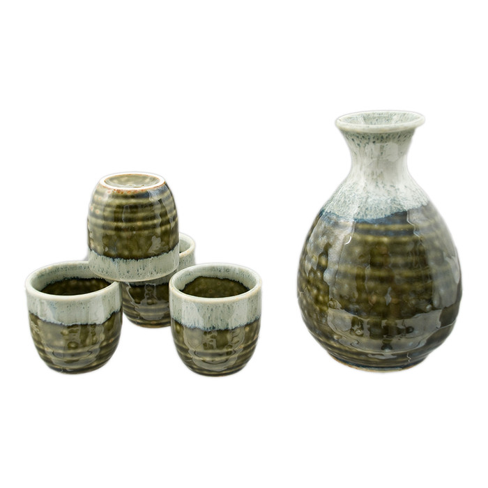 Green Stripe Stone Sake Set