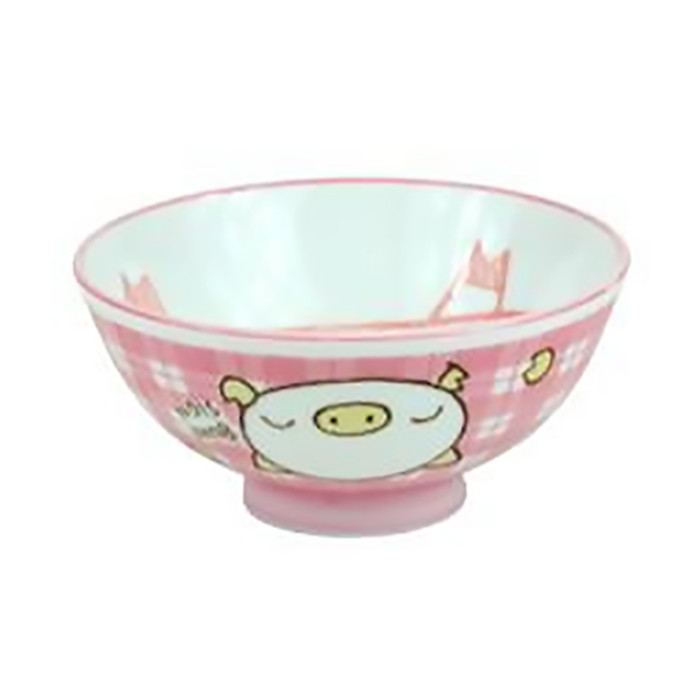"Pink Pig Rice Bowl 4-1/4"" Set of 5"