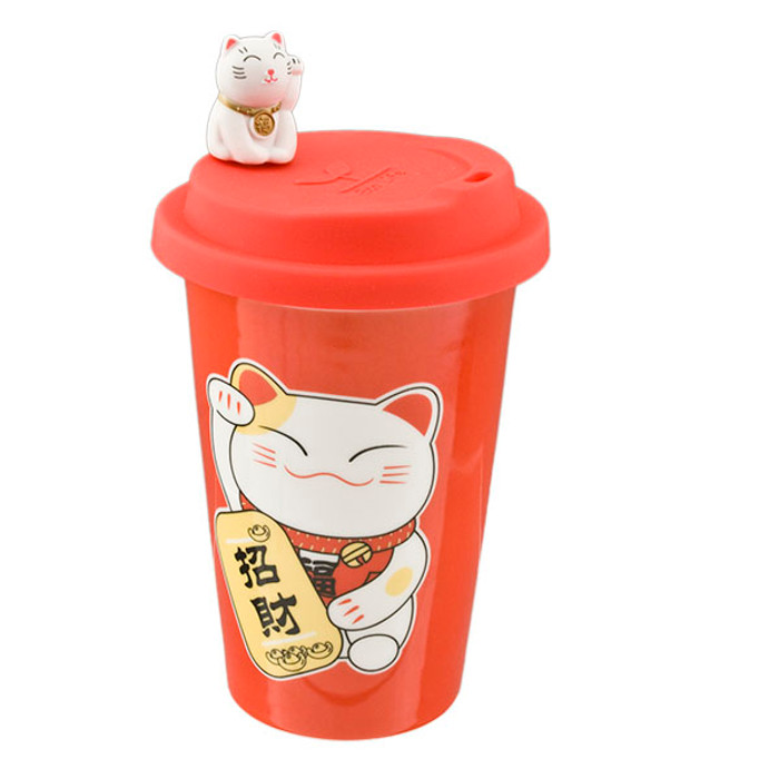 Maneki Neko Cat Cup with Silicone Lid - Red