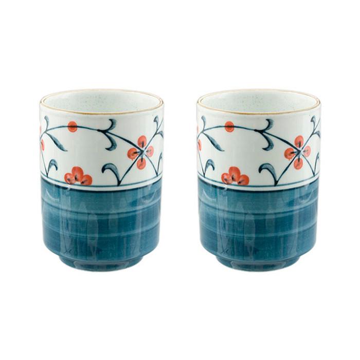 Japanese Teacup Blue & White Set of 2 - Orange Flower