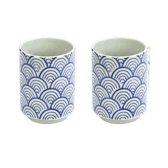 Japanese Teacup Blue & White Set of 2 - Karakusa