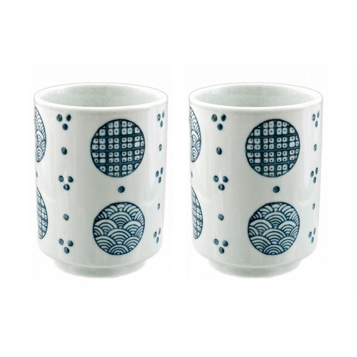 Japanese Teacup Blue & White Set of 2 - Circle