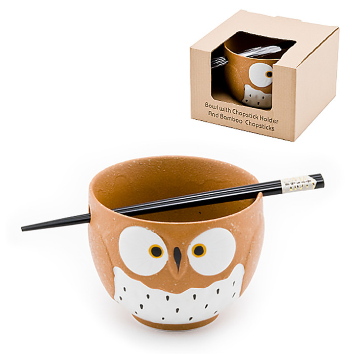 Stony Owl Noodle Bowl with Chopsticks, Brown