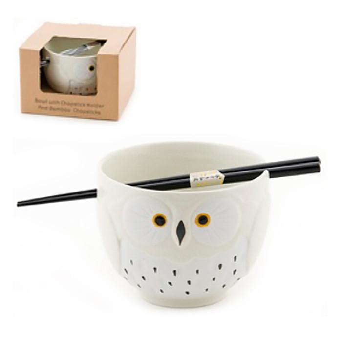 Stony Owl Noodle Bowl with Chopsticks, White