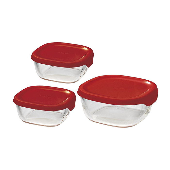 Hario Stacky Glass Container 3pc Set, Red