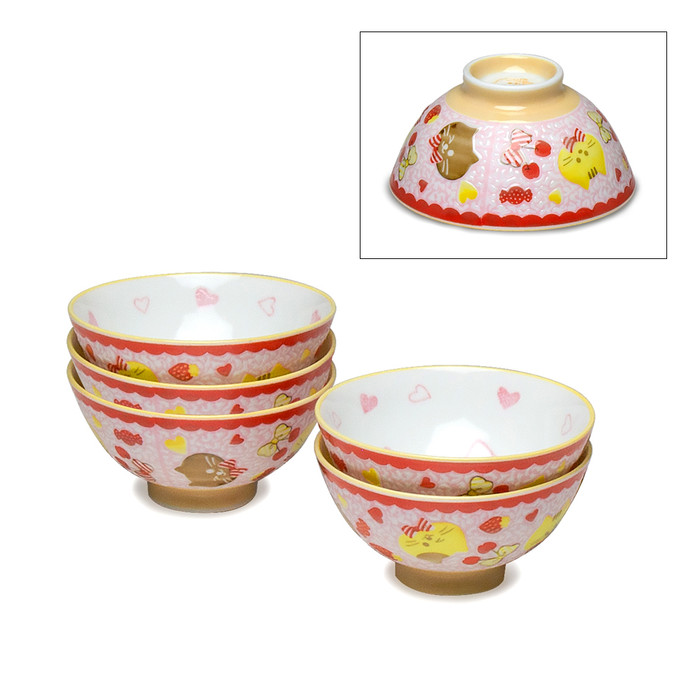 Kids Cat & Heart Bowl Set of 5 - Red/Yellow