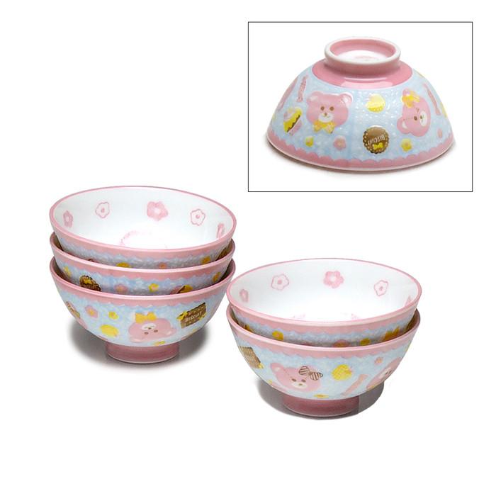 Kids Bear & Heart Bowl Set of 5 - Pink/Blue