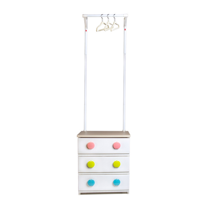 Kids Apple Hanging Clothes Rack with Lower Storage Drawers, 3-Drawer