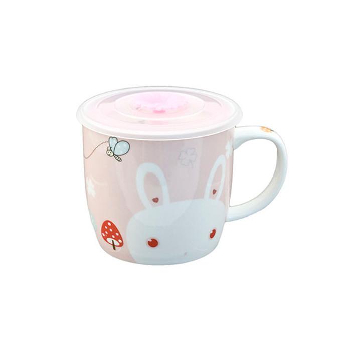 "Cute Pink Bunny Mug with Lid 3.5""H"
