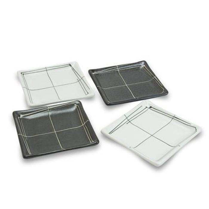Black & White Square Plate Set