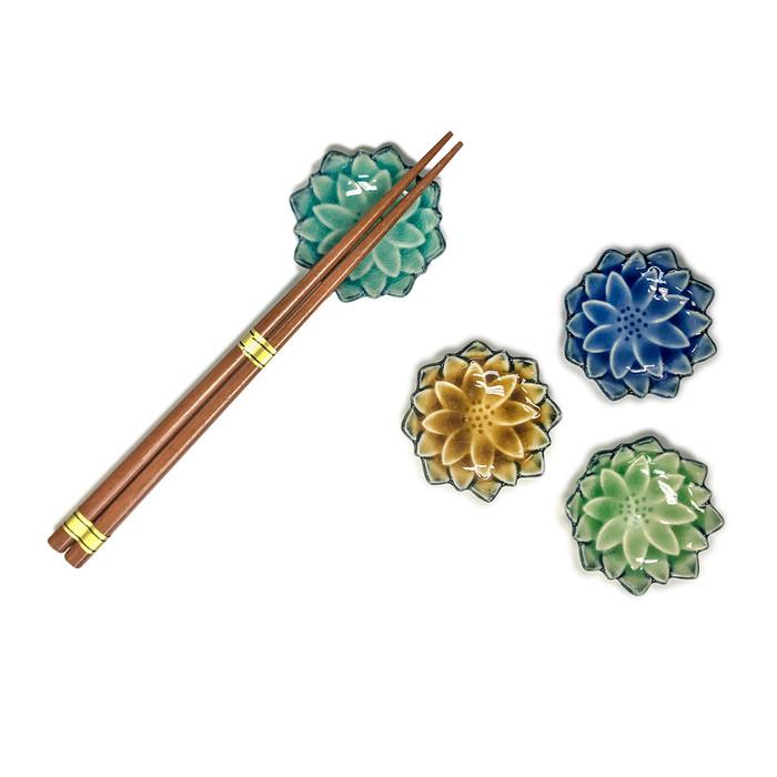Wooden Chopsticks and Flower Rest Set - Serving 4