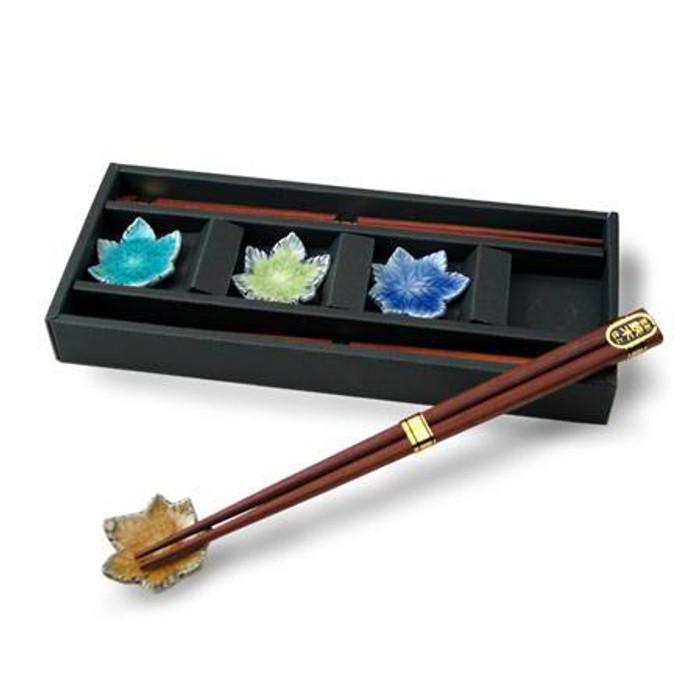 Wooden Chopsticks and Leaf Rest Set