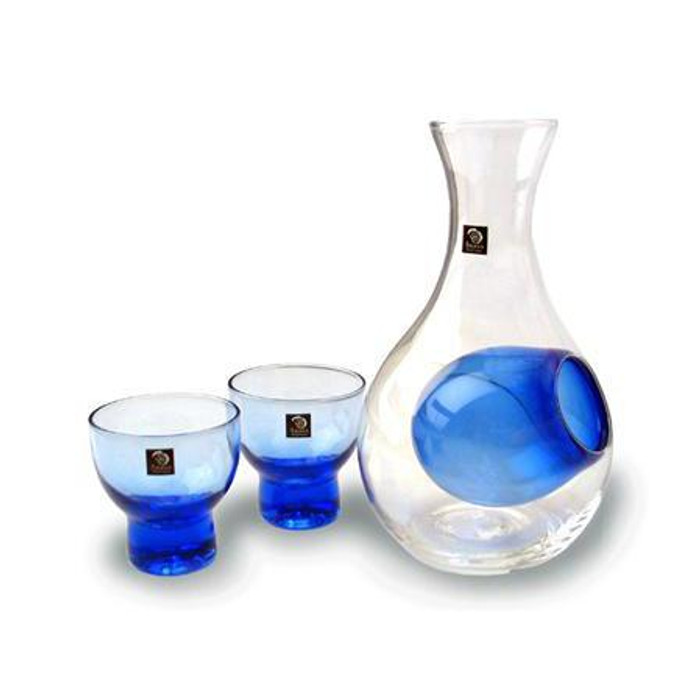 Blue Bulb Glass Sake Set