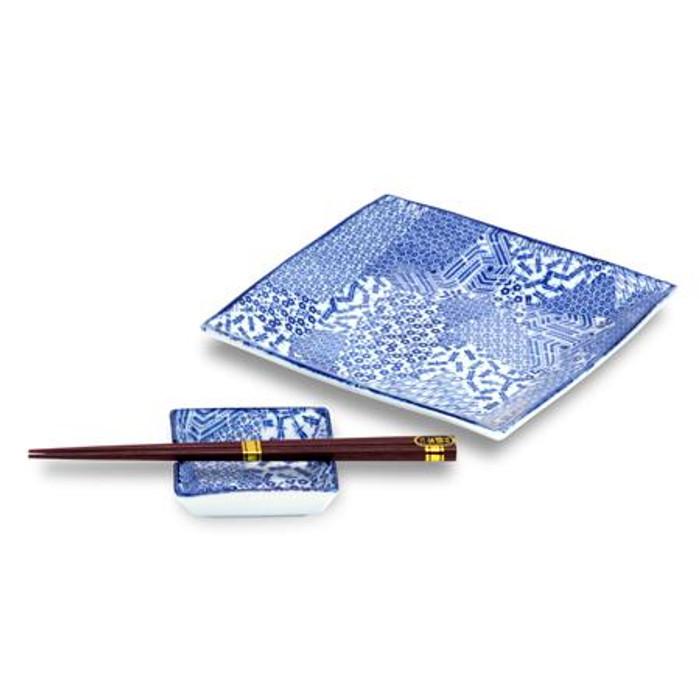 Blue Square Plates & Chopsticks Set