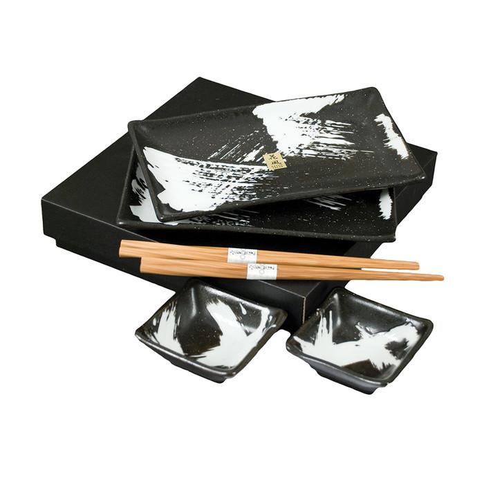 Brushed White on Black Plate Set