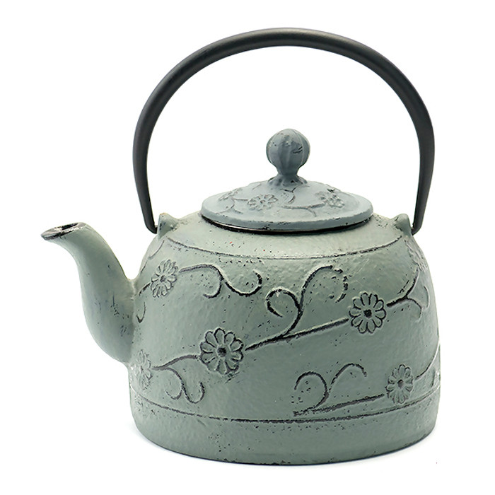 Rikyu Floral Cast Iron Teapot - Grey