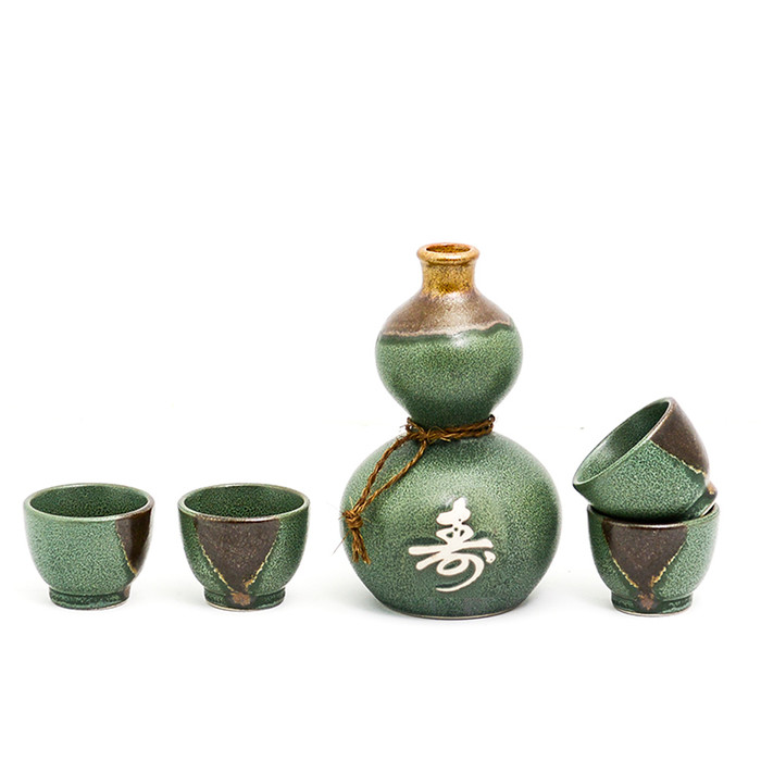 Green and Brown Longevity Sake Set