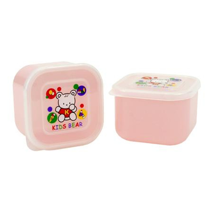 Pink Kid's Bear Container for food storage 2pcs