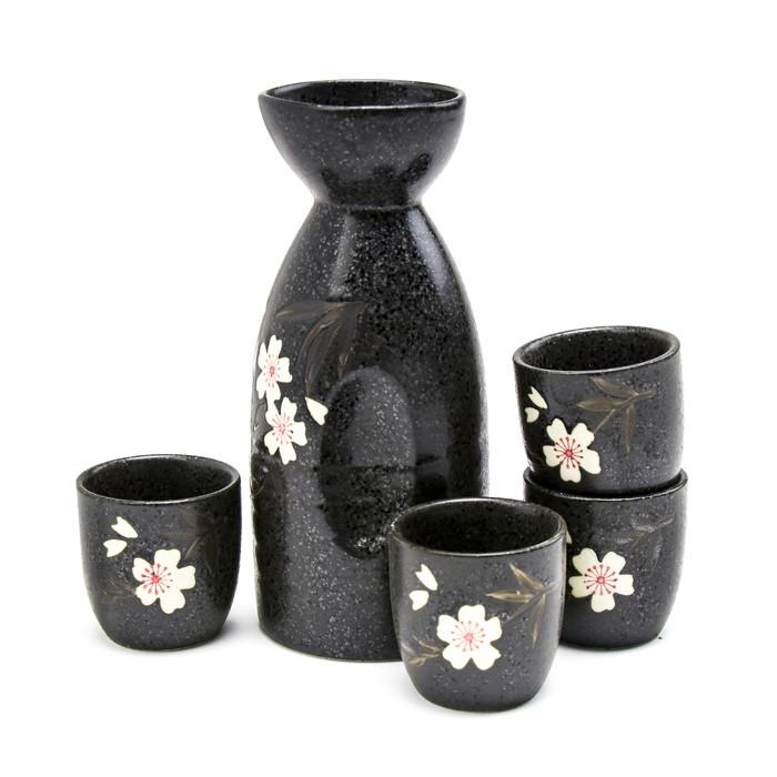 Black Alloy Sakura Sake Set
