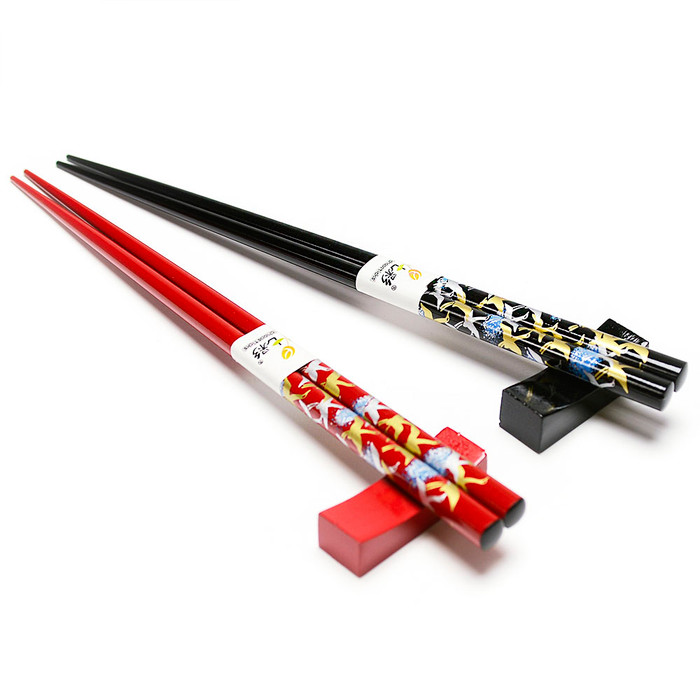 Red & Black Soaring Cranes Wooden Chopsticks & Rest 2pc Set