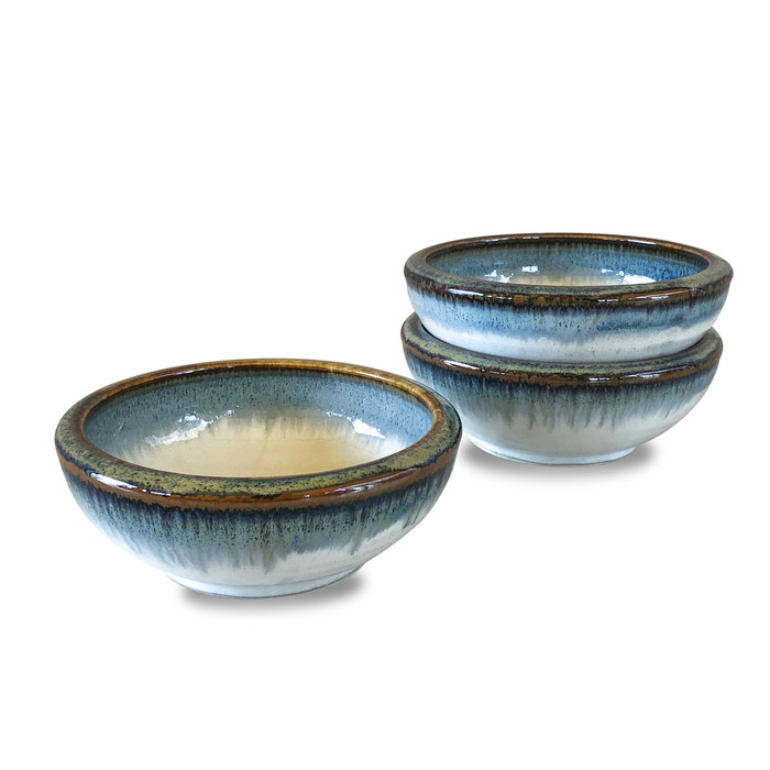 "Reactive Glaze Shallow White/Blue Bowl with Gold Rim 5"", Set of 3"