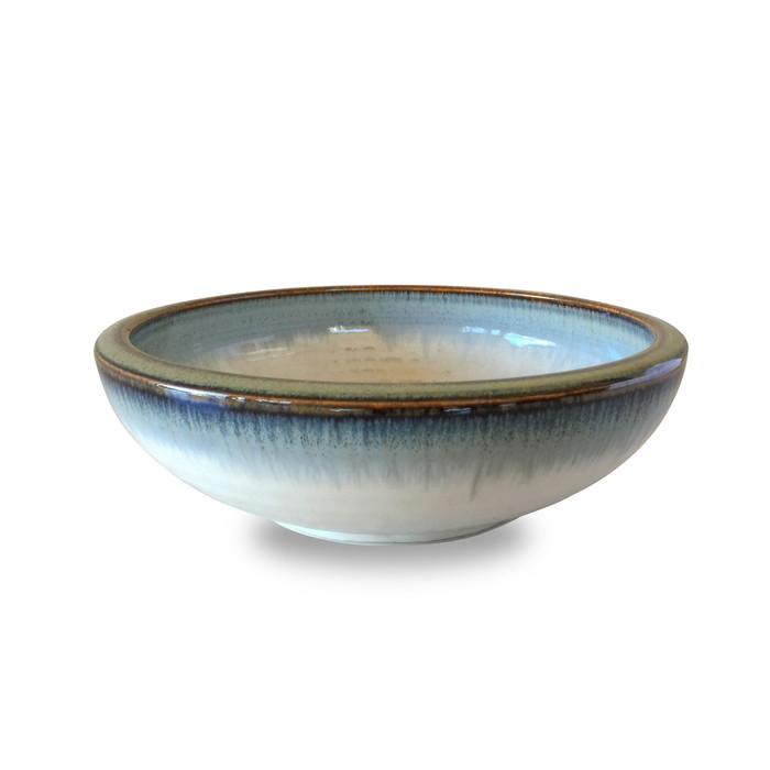 "Reactive Glaze Shallow White/Blue Serving Bowl with Gold Rim 7.75"""