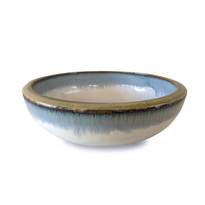 Reactive Glaze Shallow White/Blue Serving Bowl with Gold Rim 9.25""