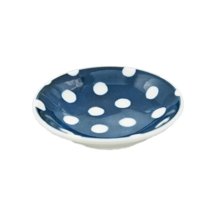 "Polka Dot Navy Blue Sauce Bowl 3.5""D, Set of 4"