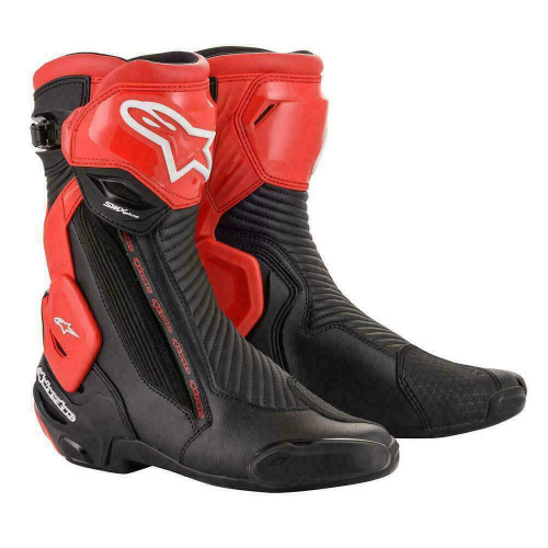 Alpinestars SMX Plus V2 Leather Sport Road Race Motorcycle Boots Black Red