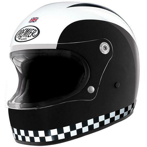 Premier Trophy Retro Classic Motorcycle Helmet Black White
