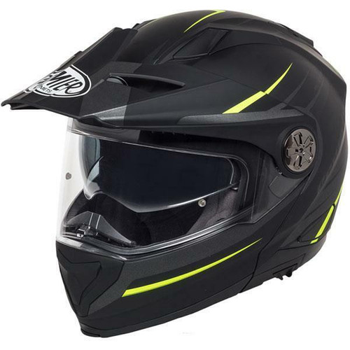 Premier X-Trail MO Y Adventure Touring Motorcycle Helmet Matt Black Neon Yellow