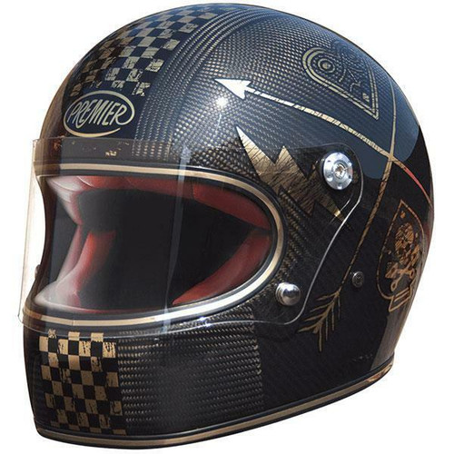 Premier Trophy NX Carbon Motorcycle Helmet Gold Chromed Classic Style