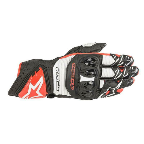 Alpinestars GP Pro R3 Leather Motorcycle Race Gloves Black White Red