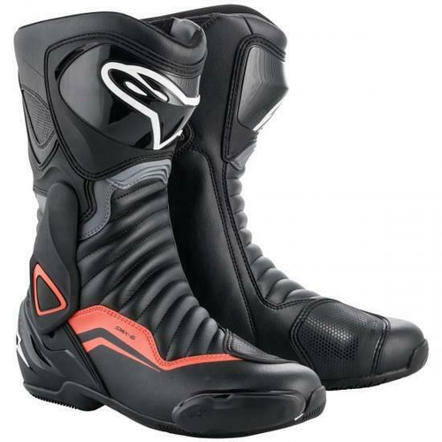 Alpinestars SMX 6 V2 Motorcycle Boots Black Grey Red Fluo