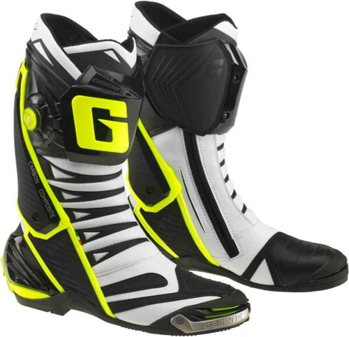 Gaerne GP1 Evo Motorcycle Full Race Moto GP Spec Boots Black / White / Flo Yell