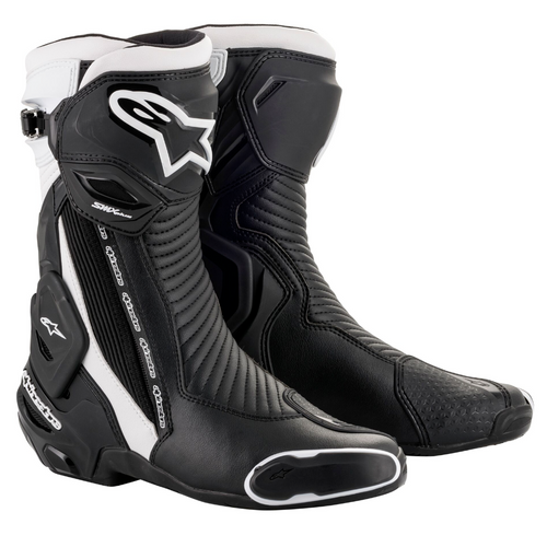 Alpinestars SMX Plus V2 Leather Sport Road Race Motorcycle Boots Black White NEW