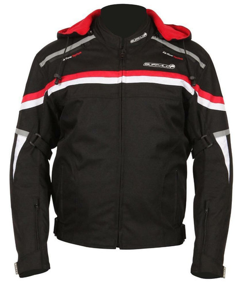 Buffalo Rebel Motorcycle Jacket Waterproof Ce Armour Removable Hood