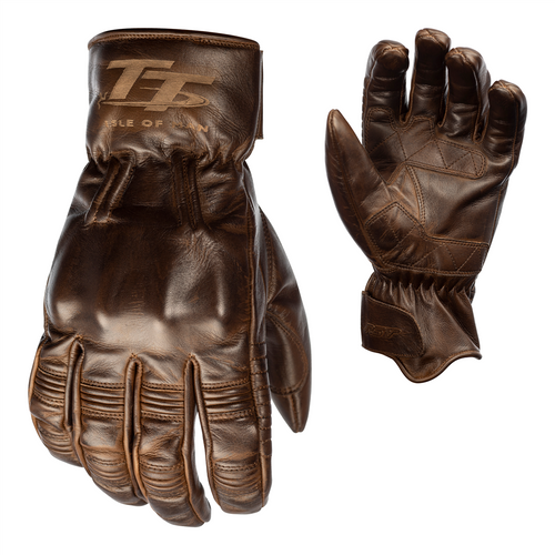 RST 2240 IOM TT Hillberry Motorcycle Leather Gloves Brown