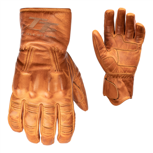 RST 2240 IOM TT Hillberry Motorcycle Leather Gloves Tan