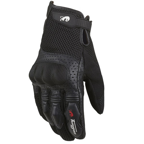 Furygan TD12 Short Leather Textile Motorcycle Glove Black
