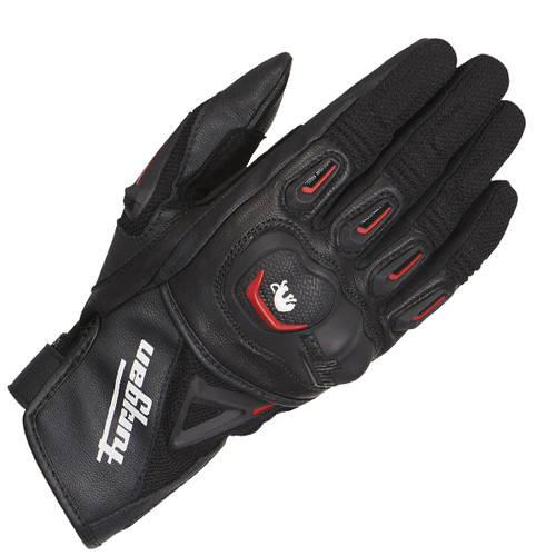 Furygan Volt Leather Motorcycle Gloves Black Red