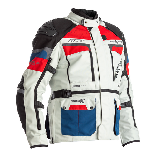 RST 2972 Adventure-X Textile CE In&motion Airbag Motorcycle Jacket Ice Blue Red