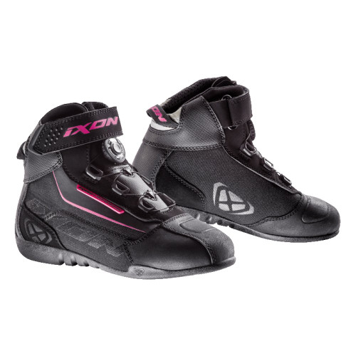 Ixon Ladies Assault Evo CE Ankle Length Motorcycle Boots Black Fushia