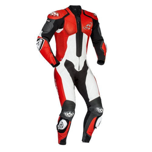 Ixon Vendetta One Piece Motorcycle Leathers Black/White/Red Airbag Ready