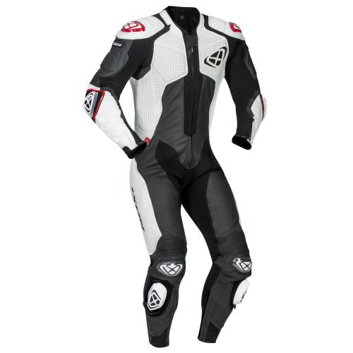 Ixon Vendetta One Piece Motorcycle Leathers Black/White Airbag Ready